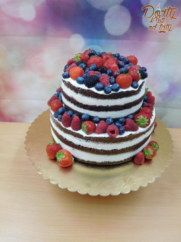 Nahatý dort s ovocem - jahody, maliny, borůvky, dvoupatrový.