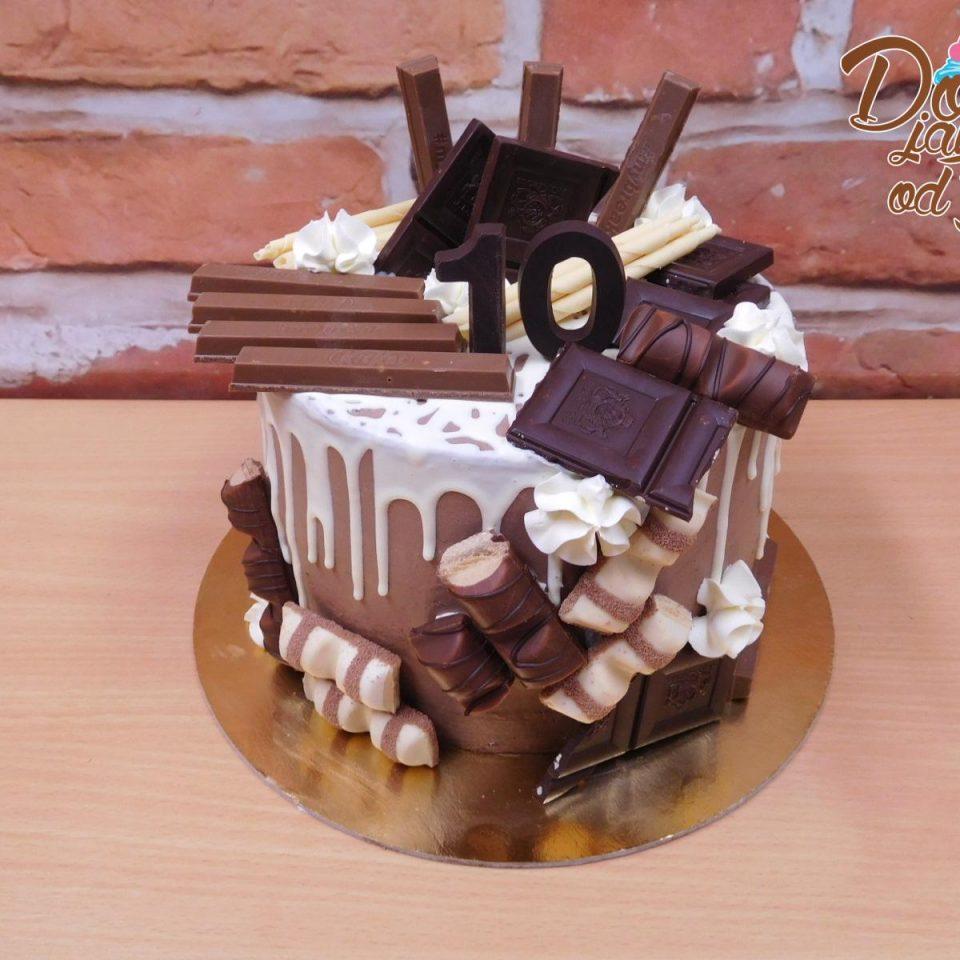 stekany dort bila cokolada
