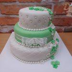 zeleno bily dort svatebni